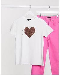 New Look Leopard Heart Slogan Tee - White