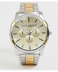 Steve Madden Mens Mix Metal Bracelet Watch In Silver/gold - Metallic