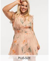 Skylar Rose Plus Mini Dress With Shirred Waist And Tie Neck - Pink