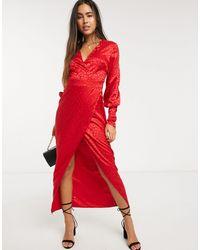 Liquorish Красное Платье Макси С Запахом И Леопардовым Узором -красный