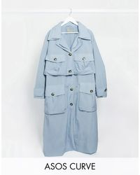 ASOS ASOS DESIGN Curve - Trench-coat fonctionnel en taffetas à effet superposé - pastel - Bleu