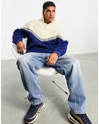 ASOS Sweat-shirt oversize en imitation peau - Bleu