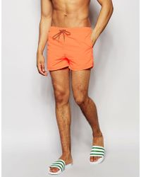 Pull&Bear - Swim Shorts In Fluorescent Orange - Lyst