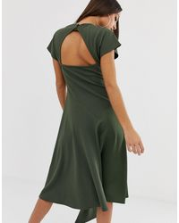 ASOS Asos Desgin Mixed Fabric Midi Dress With Open Back - Green