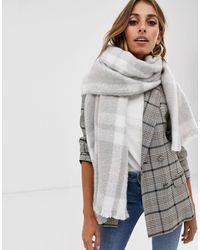 ALDO Gadoma Knit Check Scarf With Fringe - Grey