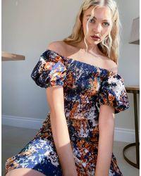 Never Fully Dressed Платье С Пышными Рукавами, Присборенной Отделкой И Разноцветным Принтом -многоцветный - Синий