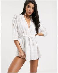 South Beach Полупрозрачное Платье В Стиле Милитари -белый