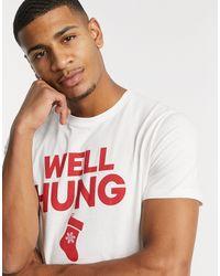 """Jack & Jones Originals – Weihnachts-T-Shirt mit """"Well Hung""""-Print - Weiß"""