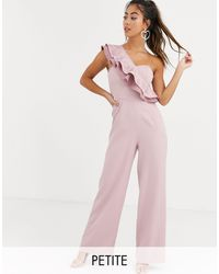 Chi Chi London One Shoulder Ruffle Jumpsuit - Pink