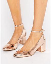 London Rebel Rose Gold Mid Heel Shoe - Multicolor
