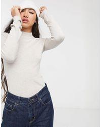 Monki Ingrid - Top manches longues à col montant - Blanc cassé - Noir