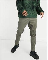 ASOS Pantalon chino taille haute coupe cigarette - Kaki foncé - Vert