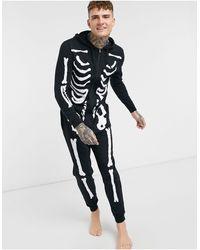 ASOS Halloween Hooded Lounge Onesie With Silver Foil Skeleton Print - Black
