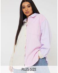 Missguided - Пастельно-розовая Рубашка В Стиле Колор Блок -розовый Цвет - Lyst