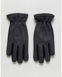 Jack & Jones Leather And Wool Gloves - Black