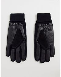 ASOS – e Touchscreen-Handschuhe aus Leder und Wildleder mit gerippten Bündchen - Schwarz
