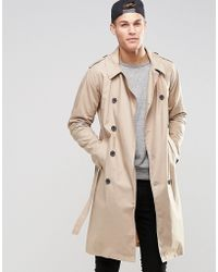 ASOS Lightweight Trench Coat In Stone - Natural