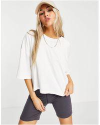 TOPSHOP Short Sleeve Washed Boxy T-shirt - White