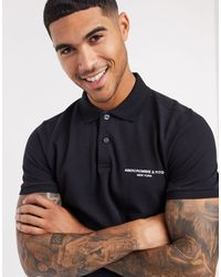 Abercrombie & Fitch Graphic Chest Logo Polo - Black