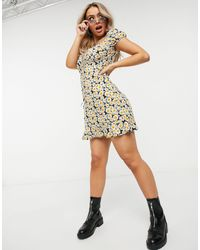 Motel Milk Maid Mini Dress With Frill Hem - Multicolour