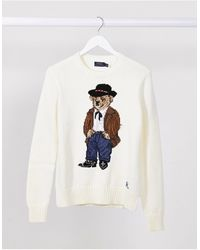 Polo Ralph Lauren Long Sleeve Sweatshirt With Bear Logo - White