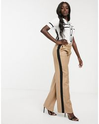 Morgan Contrast Side Stripe Tailored Trouser With Front Pleat Detail In Camel - Natural