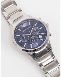 Emporio Armani Серебристые Наручные Часы С Синим Циферблатом Ar2448-серебристый - Металлик