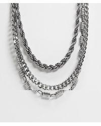 ASOS Catenina multifilo spessa e corta argento brunito - Metallizzato