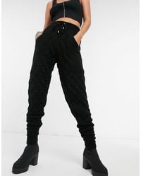 TOPSHOP Knitted Quilted joggers - Black