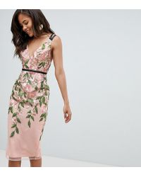 ASOS - Asos Design Tall Floral Embroidered Pencil Midi Dress - Lyst