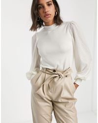 Stradivarius Top With Dot Sleeves - Multicolor