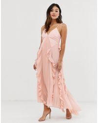 85e2b83cd56 True Decadence - Premium Cami Dress With Ruffle And Pleated Skirt In Peach  - Lyst