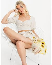 Skylar Rose 2 Piece Linen Crop Top With Tie Waist Shorts Set - Multicolour