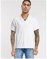 TOPMAN - Белая Льняная Рубашка С Отложным Воротником И Короткими Рукавами -белый - Lyst