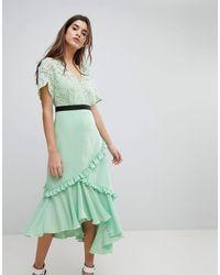 Three Floor - Midi-jurk Met Kanten Lijfje - Lyst