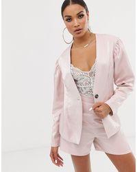 UNIQUE21 Комбинируемый Блестящий Блейзер -розовый - Многоцветный
