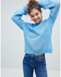 Bershka - Loose Knit Jumper In Blue - Lyst