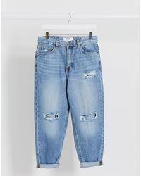 Bershka Loose Fit Torn Jeans - Blue