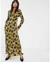 Glamorous Бархатное Платье Макси С Набивкой Флок -зеленый