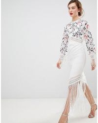 Frock and Frill - Frock & Frill Long Sleeve Embroidered Dress With Fringed Detail - Lyst