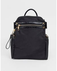 ASOS Backpack With Chunky Zip And Croc Detail - Black