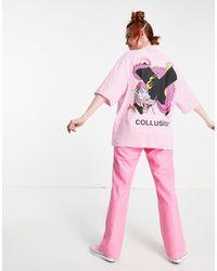 Collusion T-shirt oversize rosa con stampa di dragone