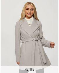 Miss Selfridge Серое Пальто С Запахом -серый