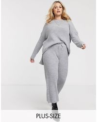 Simply Be Co-ord Knitted Ribbed Culottes - Grey