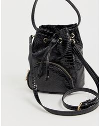 ASOS Mini Croc Bucket Bag - Black