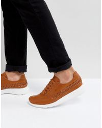 ASOS - Sneakers In Tan With Woven Detail - Lyst