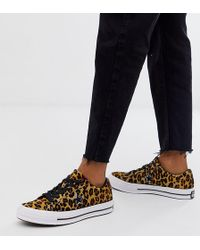Converse One Star Pony Hair Leopard Print Sneakers - Brown