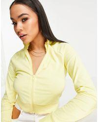 ASOS Cropped Zip Through Track Top - Yellow