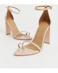 1c123a22e7f ASOS Harper Wide Fit Lace Up Heeled Sandals - Nude in Natural - Lyst
