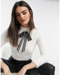 River Island Fluffy Knit Sweater - White